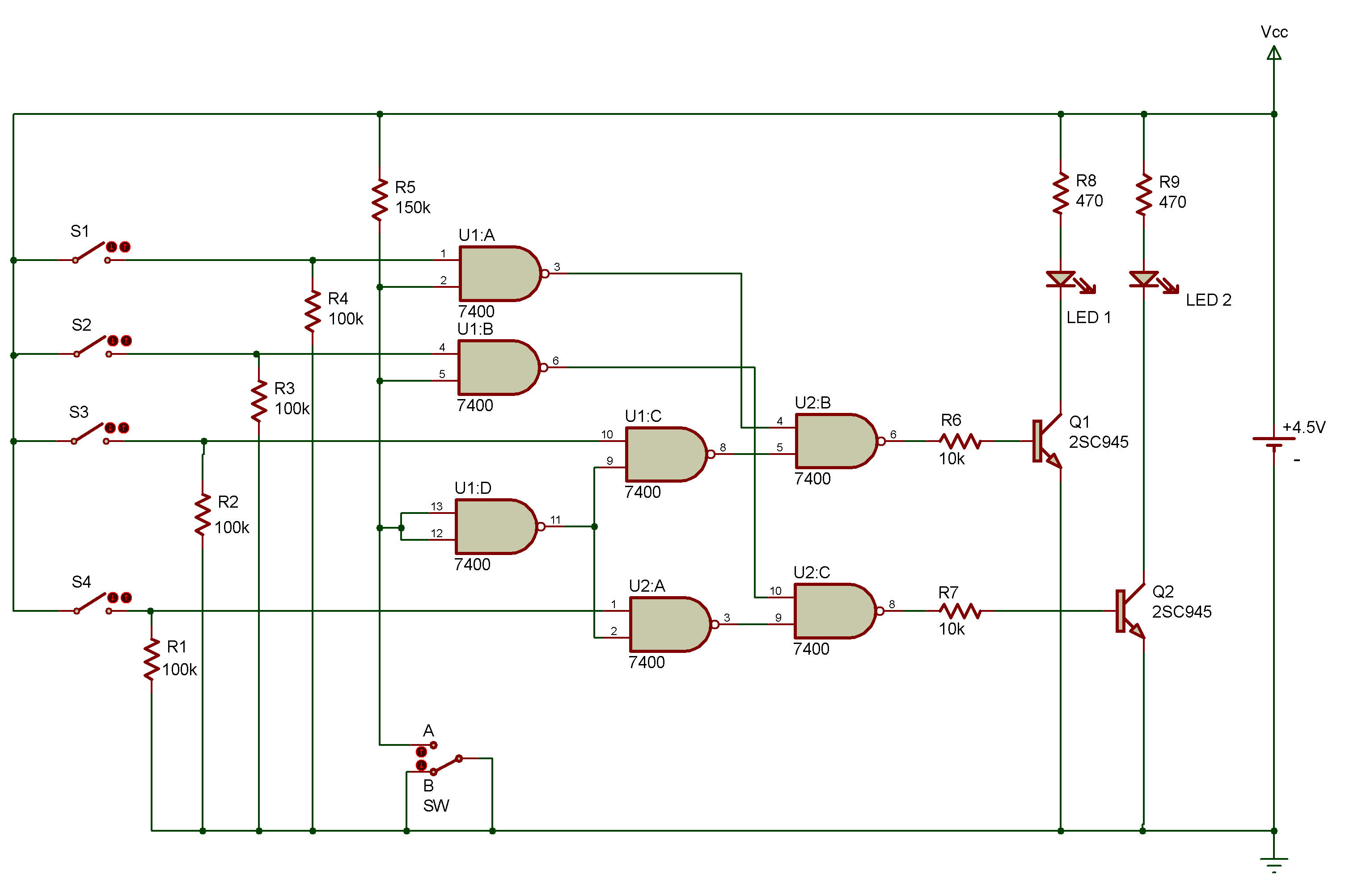 Sn7400 Dual Led Flasher Circuit Wiring Diagram For Light Switch Simple Circuits 2 Input Multiplexer Rh Zpag Net 555