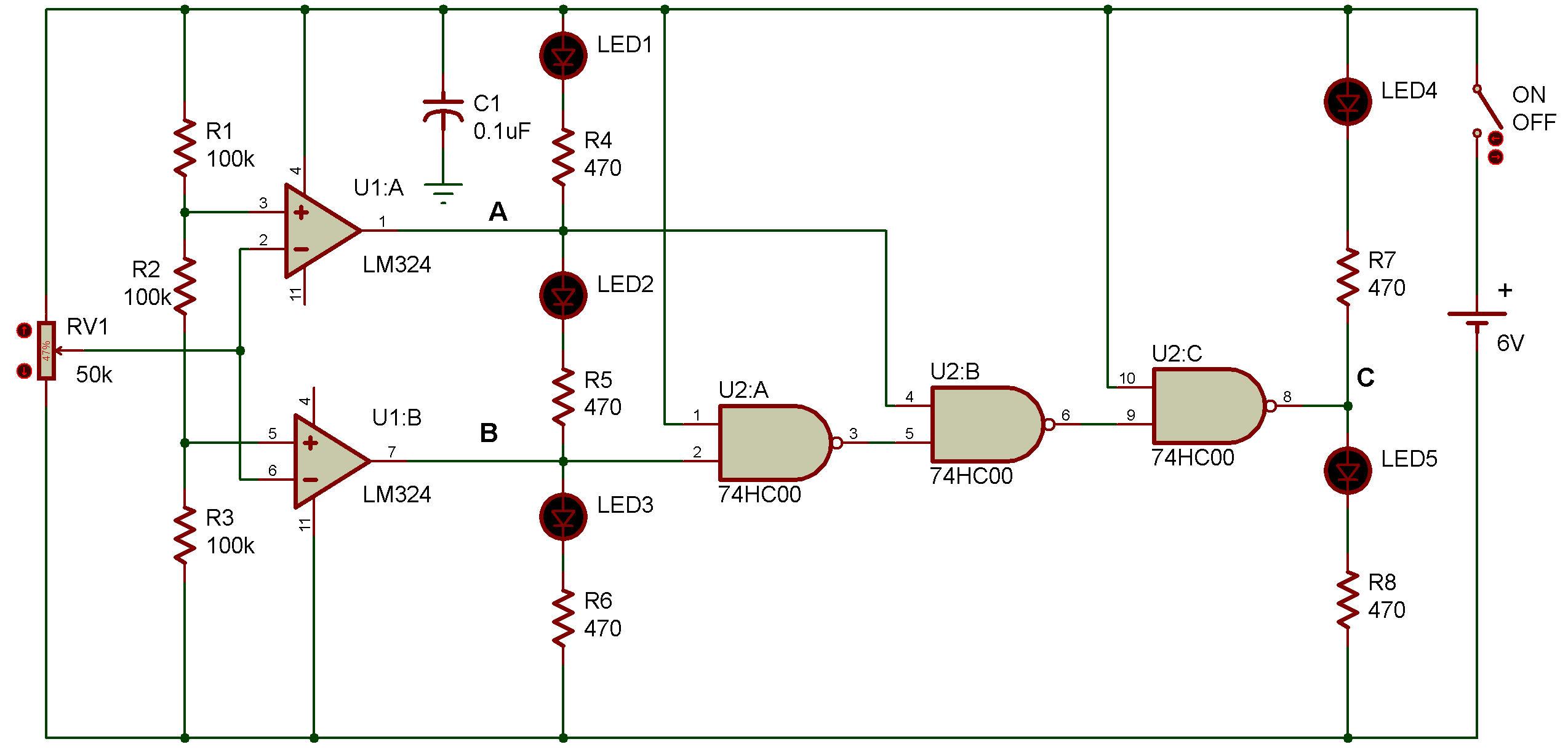 Window comparator LM324