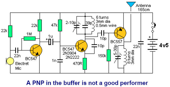 fm 3 transistor circuitsa pnp transistor can be used in the buffer stage, but as we said before the bc557 is not as good as an npn transistor, when operating at high frequencies