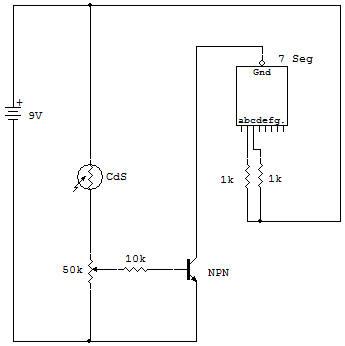 Transistor, CdS Cell and LED Display Circuit